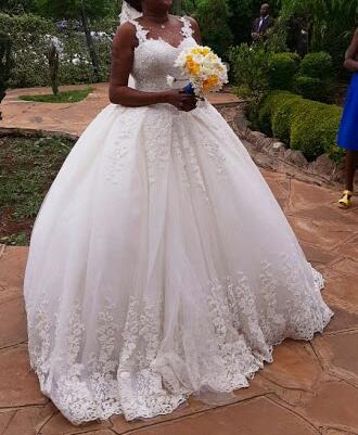 Embroidered cinderella ball gown wedding dress close up