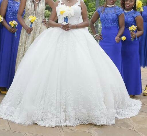 Embroidered cinderella ball gown wedding dress