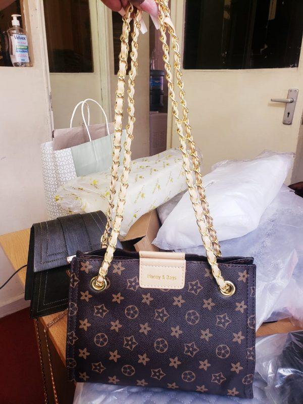 Golden chain shoulder bag