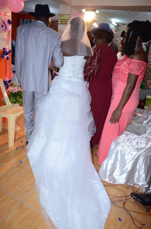 Strapless snow white ball wedding gown back