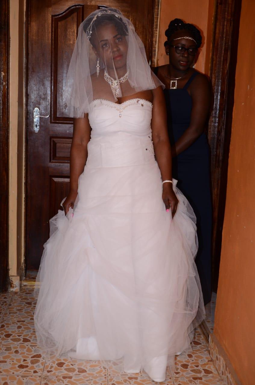 Strapless snow white ball wedding gown